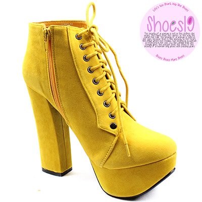 Popular Womens Punk Military Raise Round Toe Yellow Contrast Stitch Lace Up