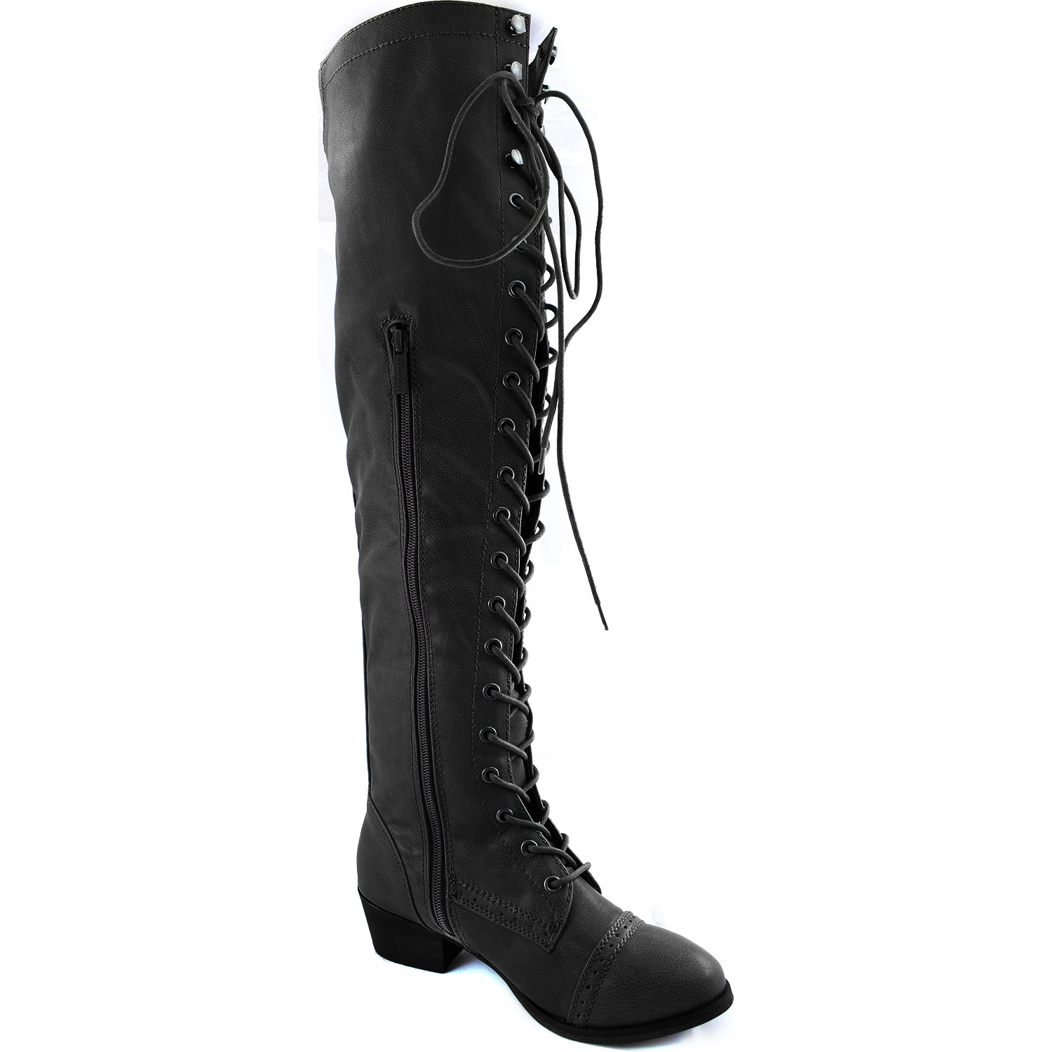 combat boots lace up thigh high flat heel