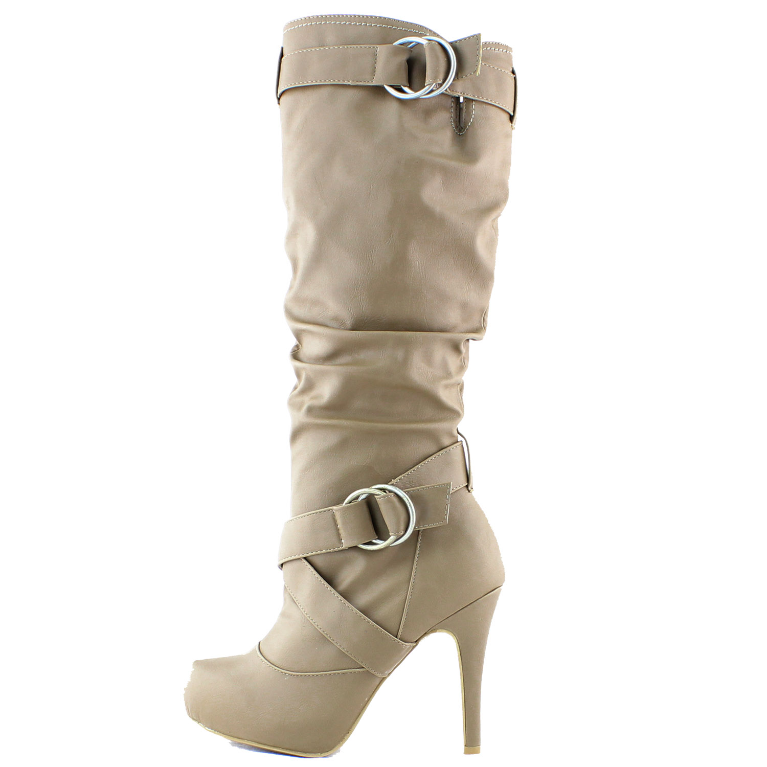 Taupe Beige Leather Boots Stiletto High Heel Platform Mid Knee ...