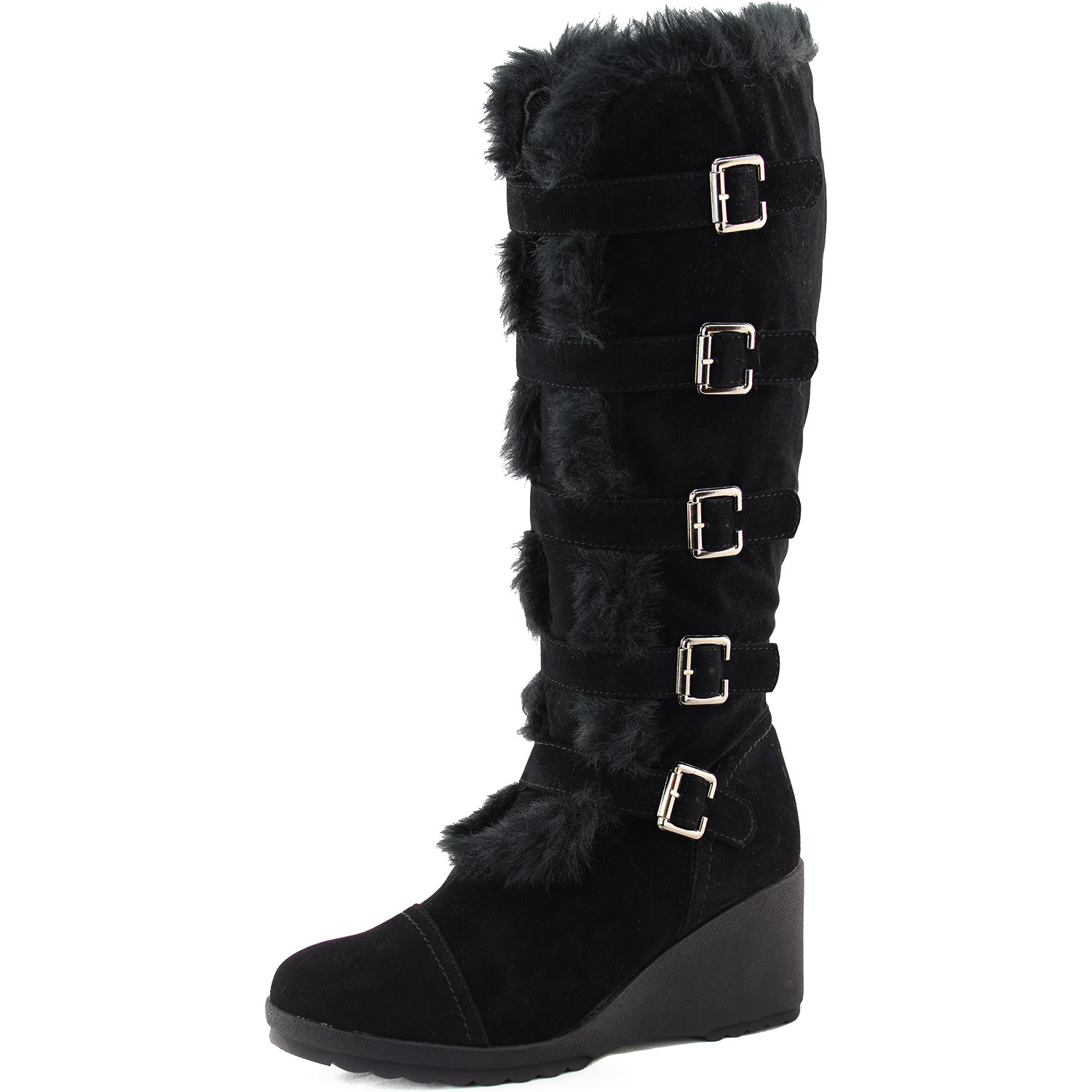 black faux fur mid knee high boots platform wedge heel