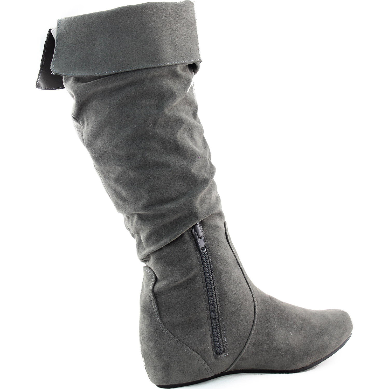 Women's Semi-Pointed Comfortable Slouchy Suede Mid Calf ...