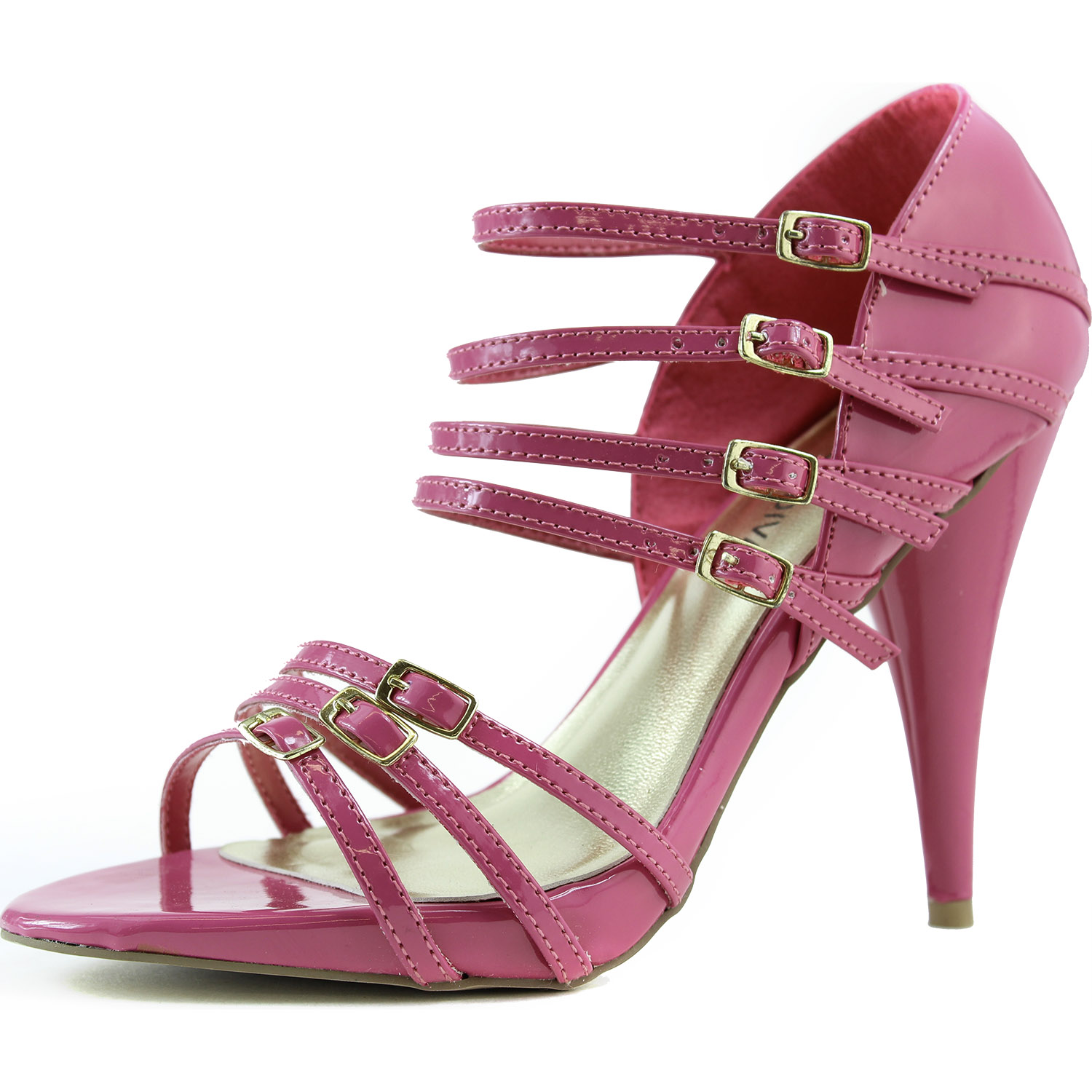 strappy gladiator high heel sandals faux patent leather