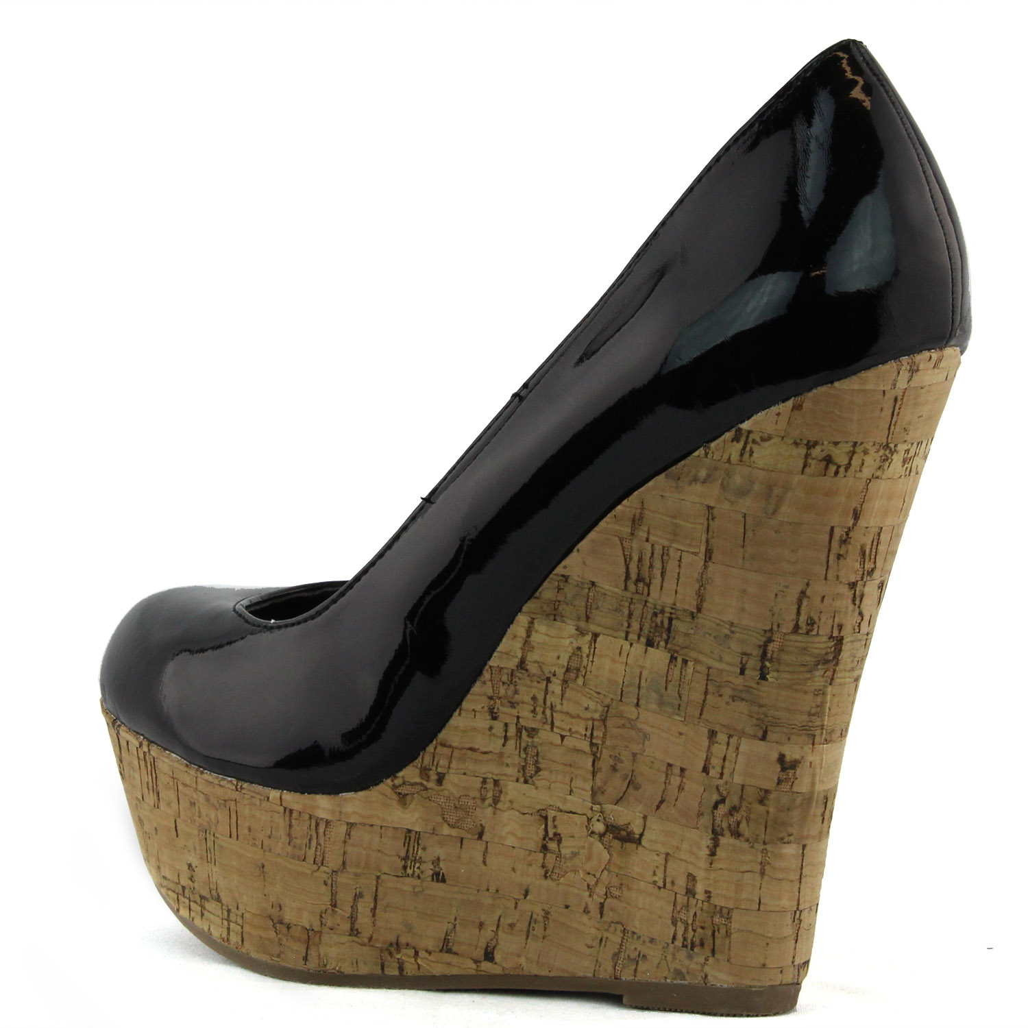 Black Patent Wedge Heel Shoes