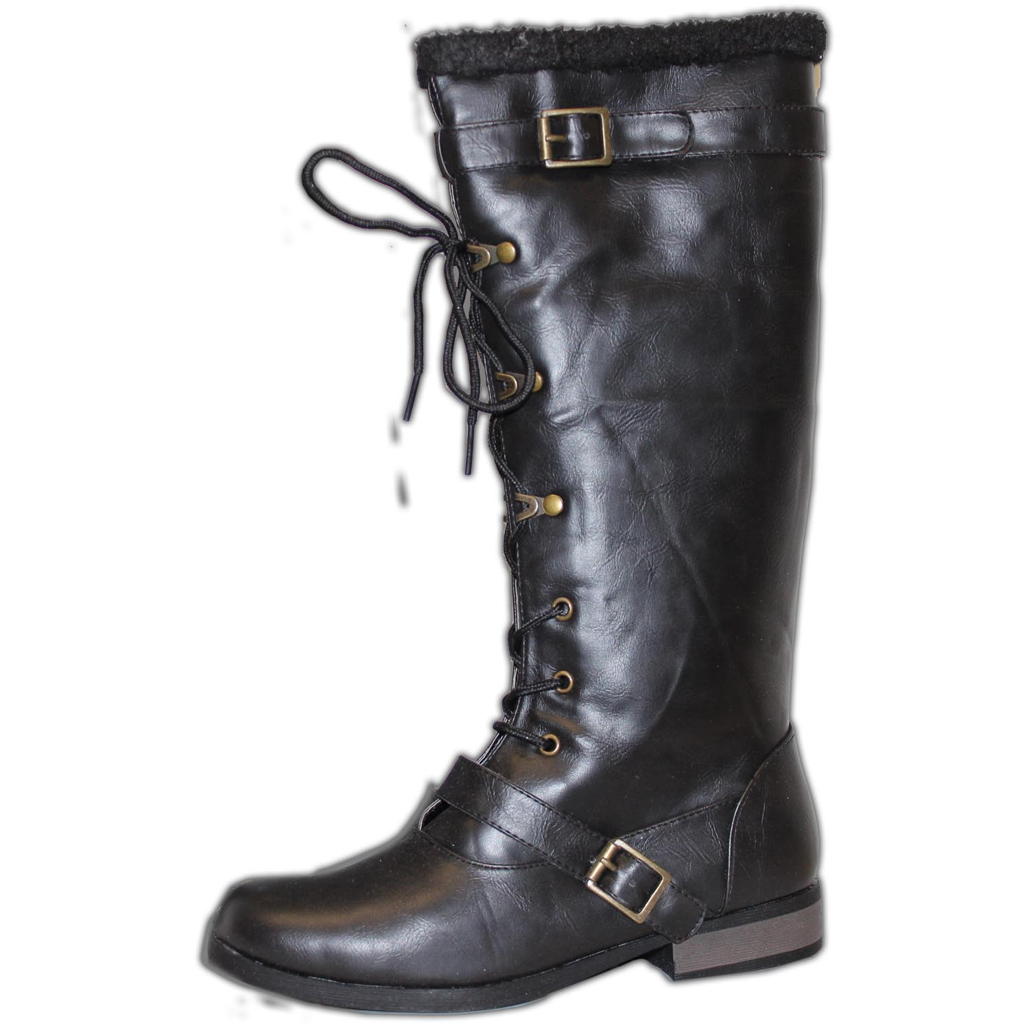 knee high motorcycle boots ankle lace
