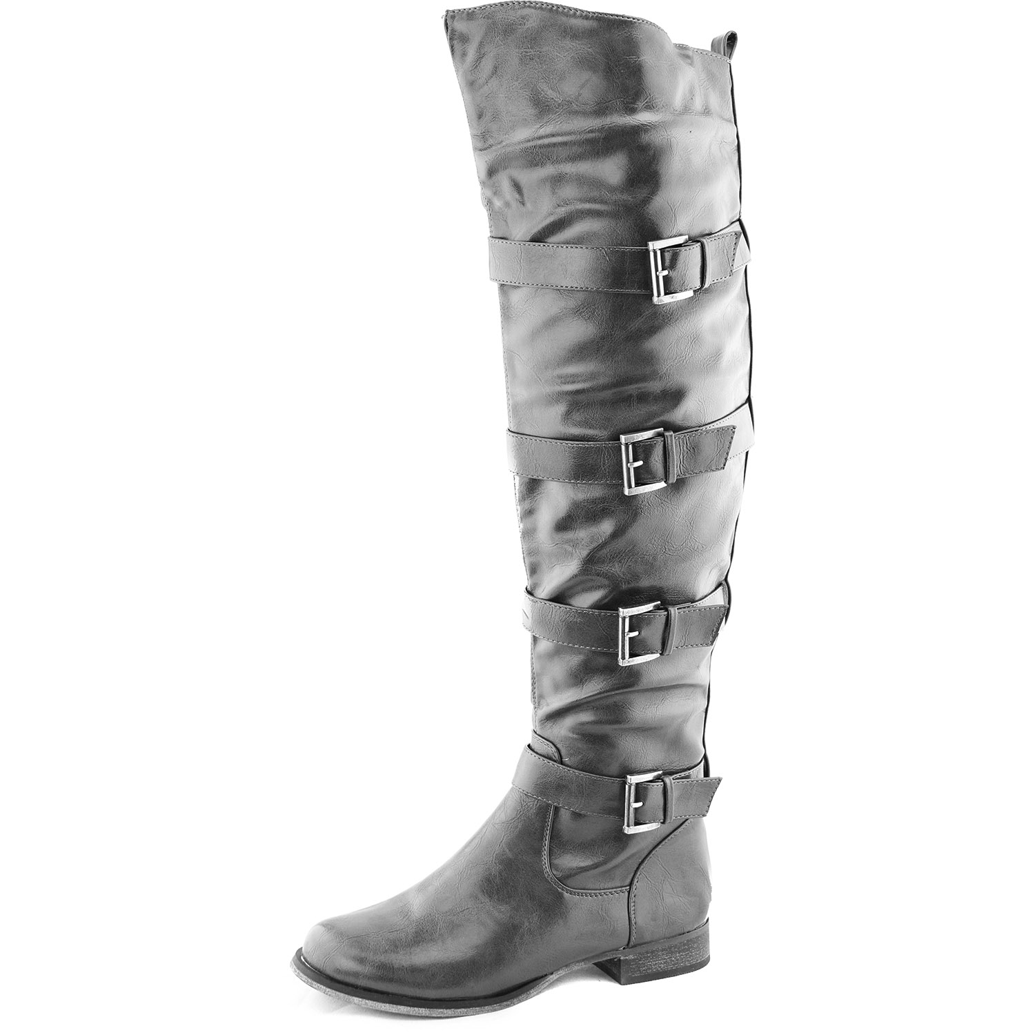 womens knee high cowboy buckle strappy thigh
