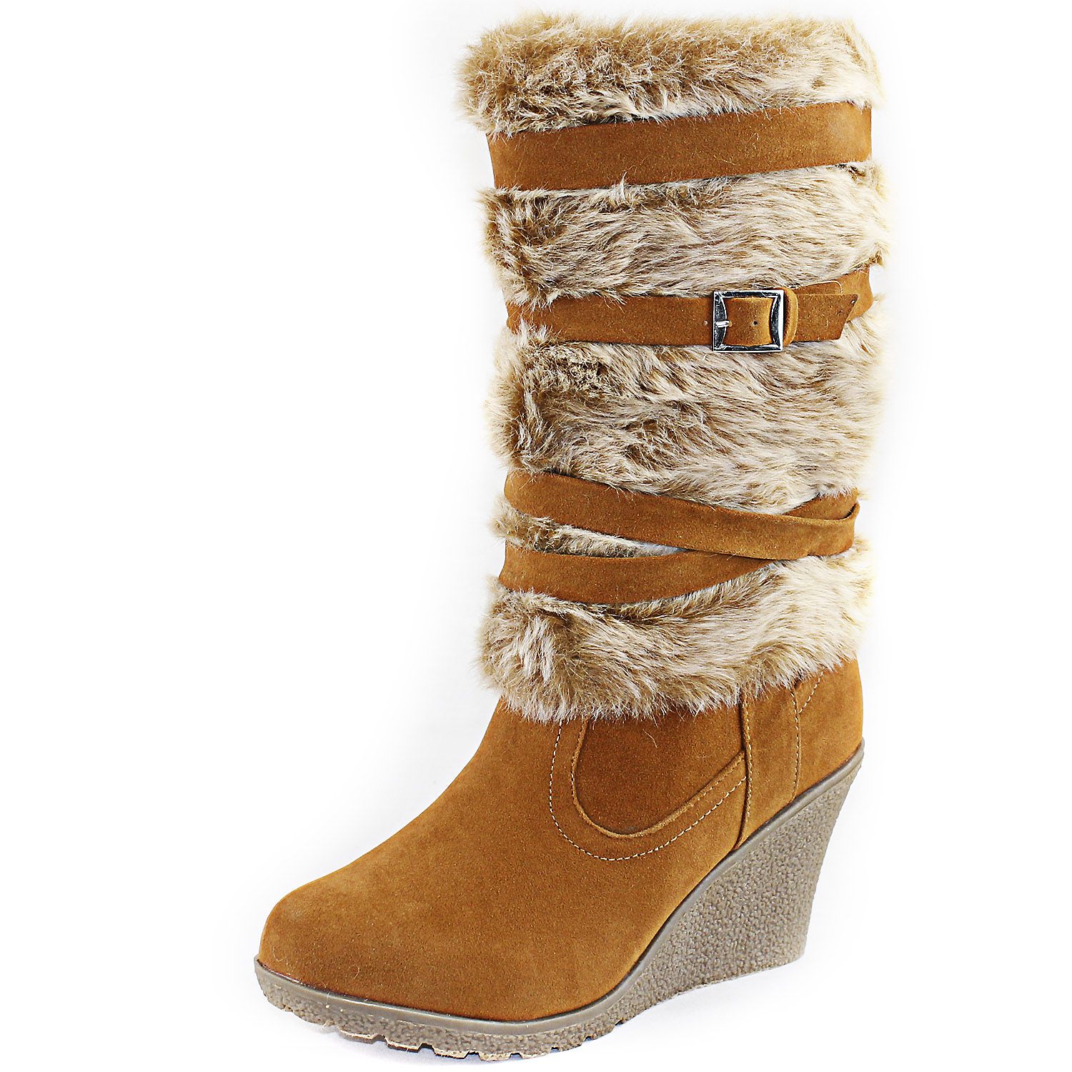 vegan faux fur boots high wedge heel platform zipper