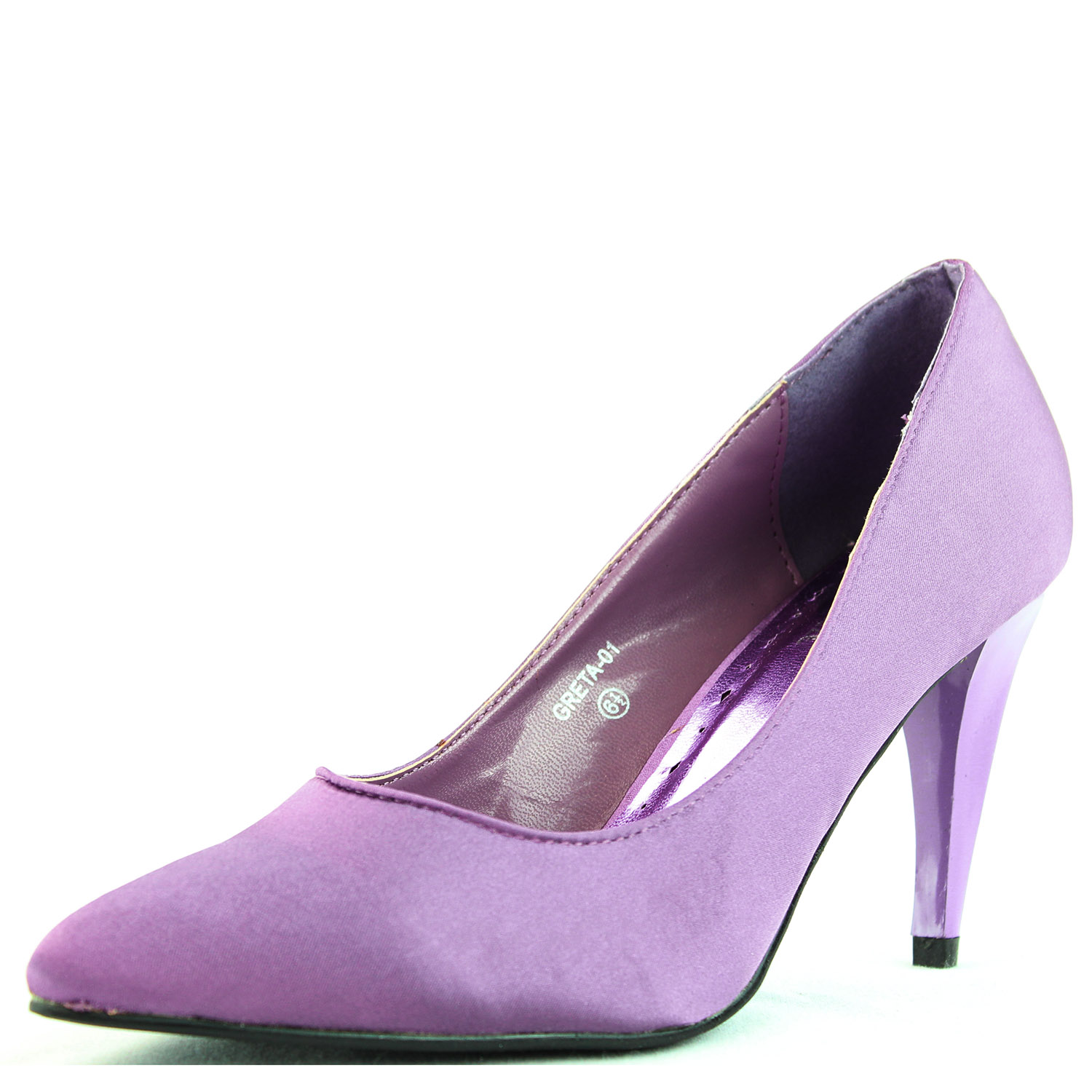 Purple Satin High Heels