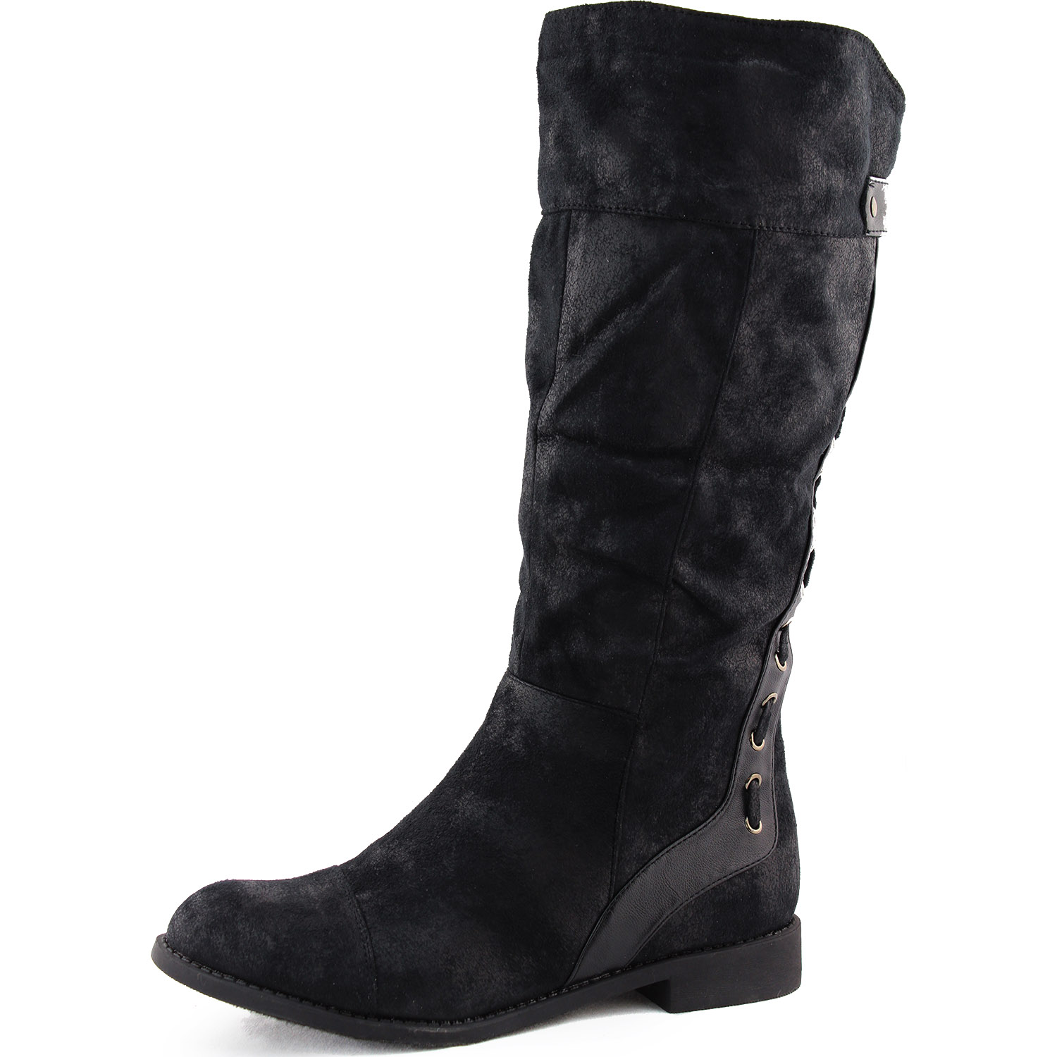womens knee high rider boots mid calf slouch flat cowboy