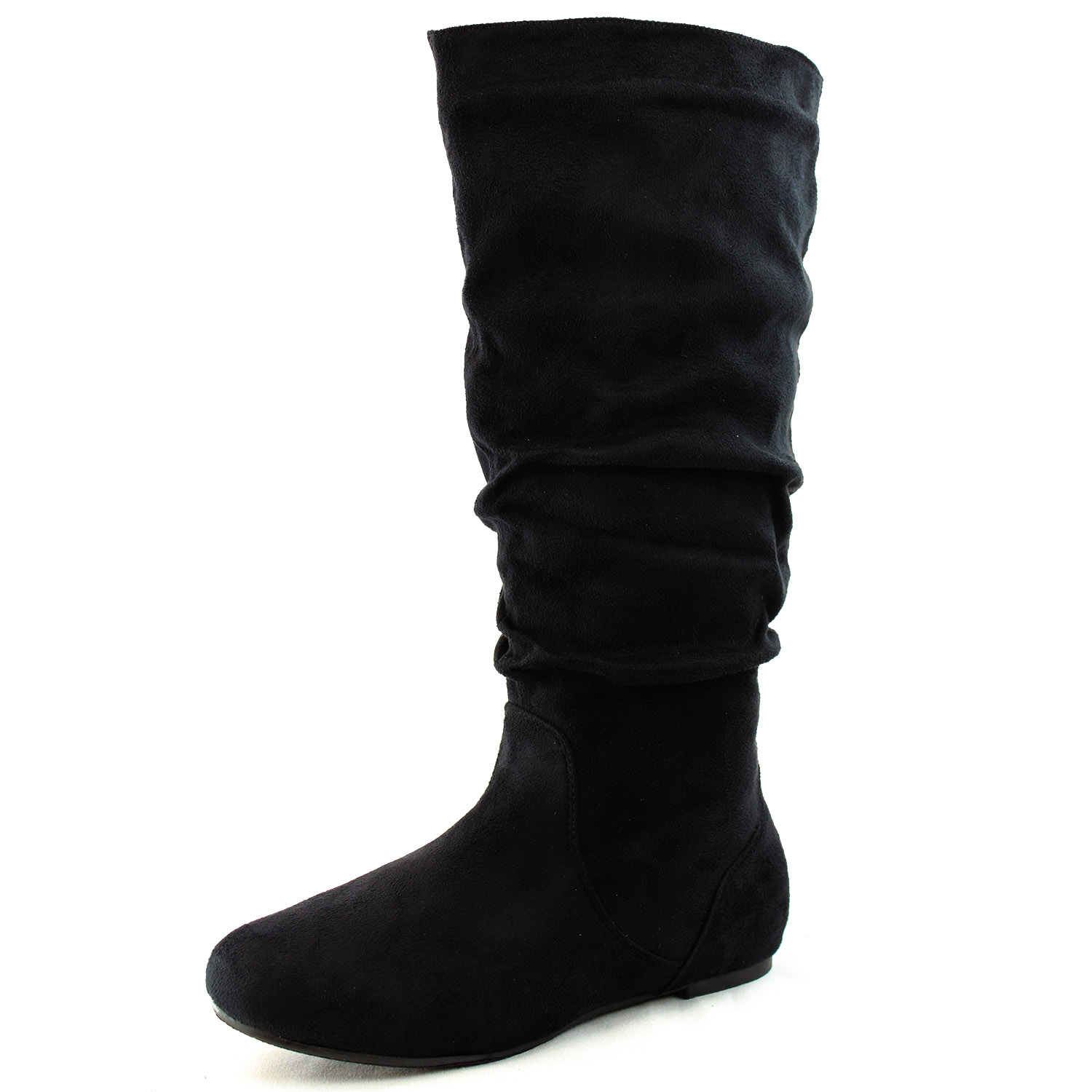 Women Round Toe Mid Calf Slouch Knee High Flat Heel Comfy Casual ...