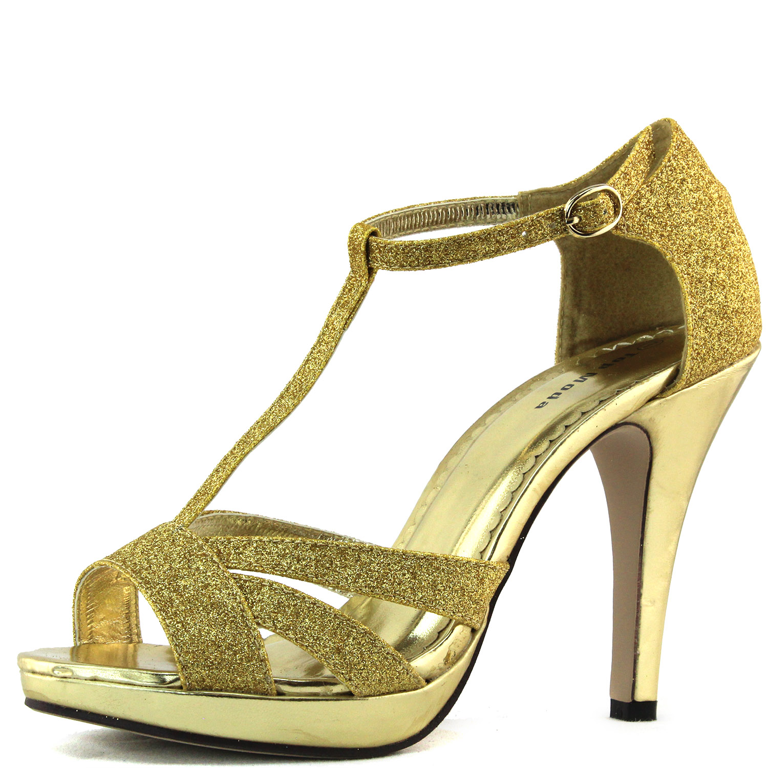 gold sandals high heel glitter peep toe ankle strappy platform sexy womens shoes ebay. Black Bedroom Furniture Sets. Home Design Ideas