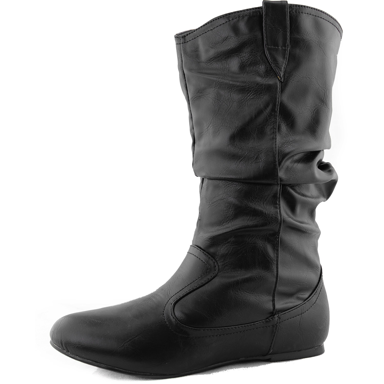 mid calf toe boots slouch comfort casual flat faux