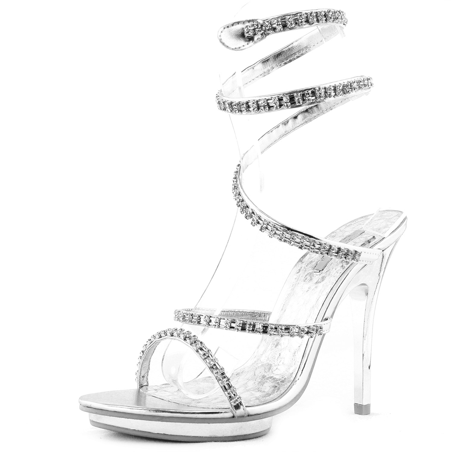 Silver Evening Shoes High Heel