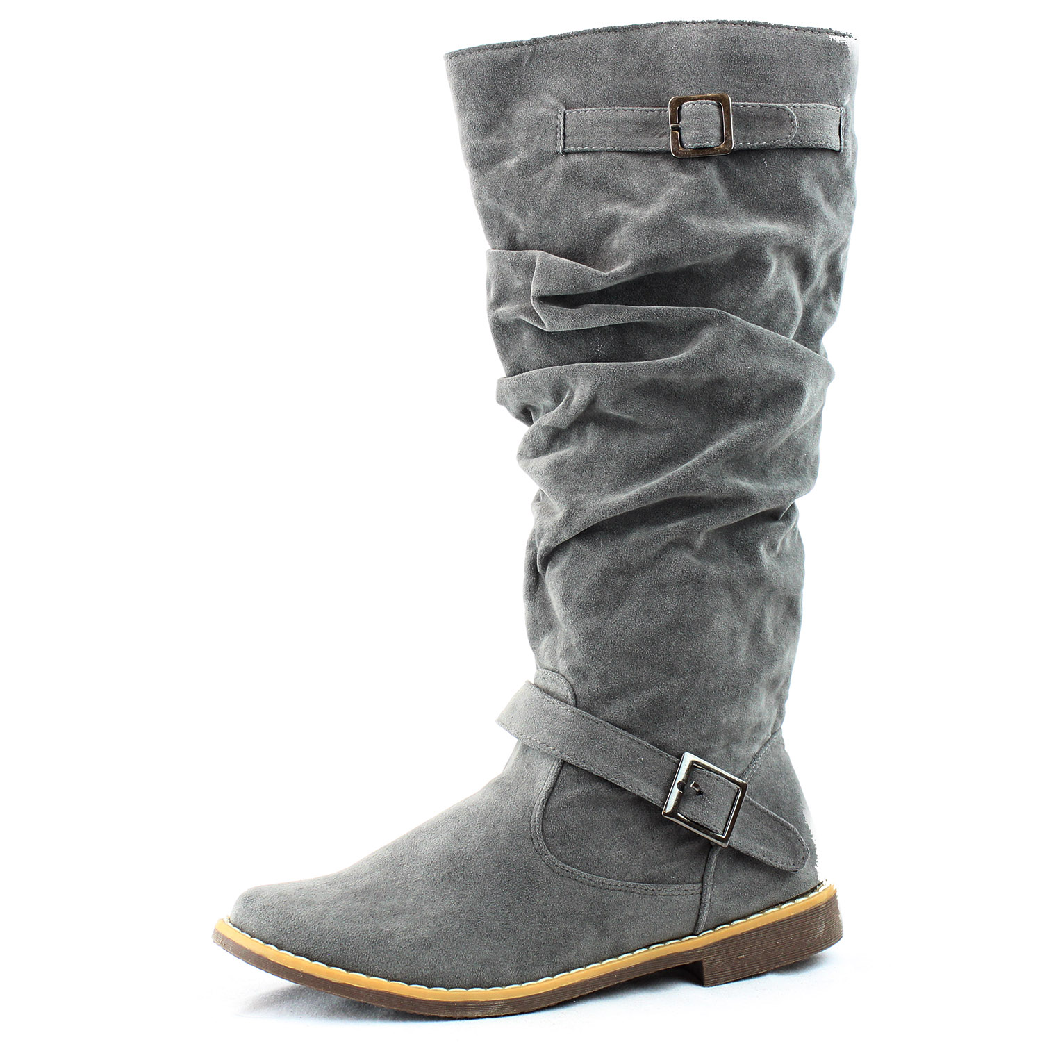 grey mid knee high boots buckle slouch pull on faux suede