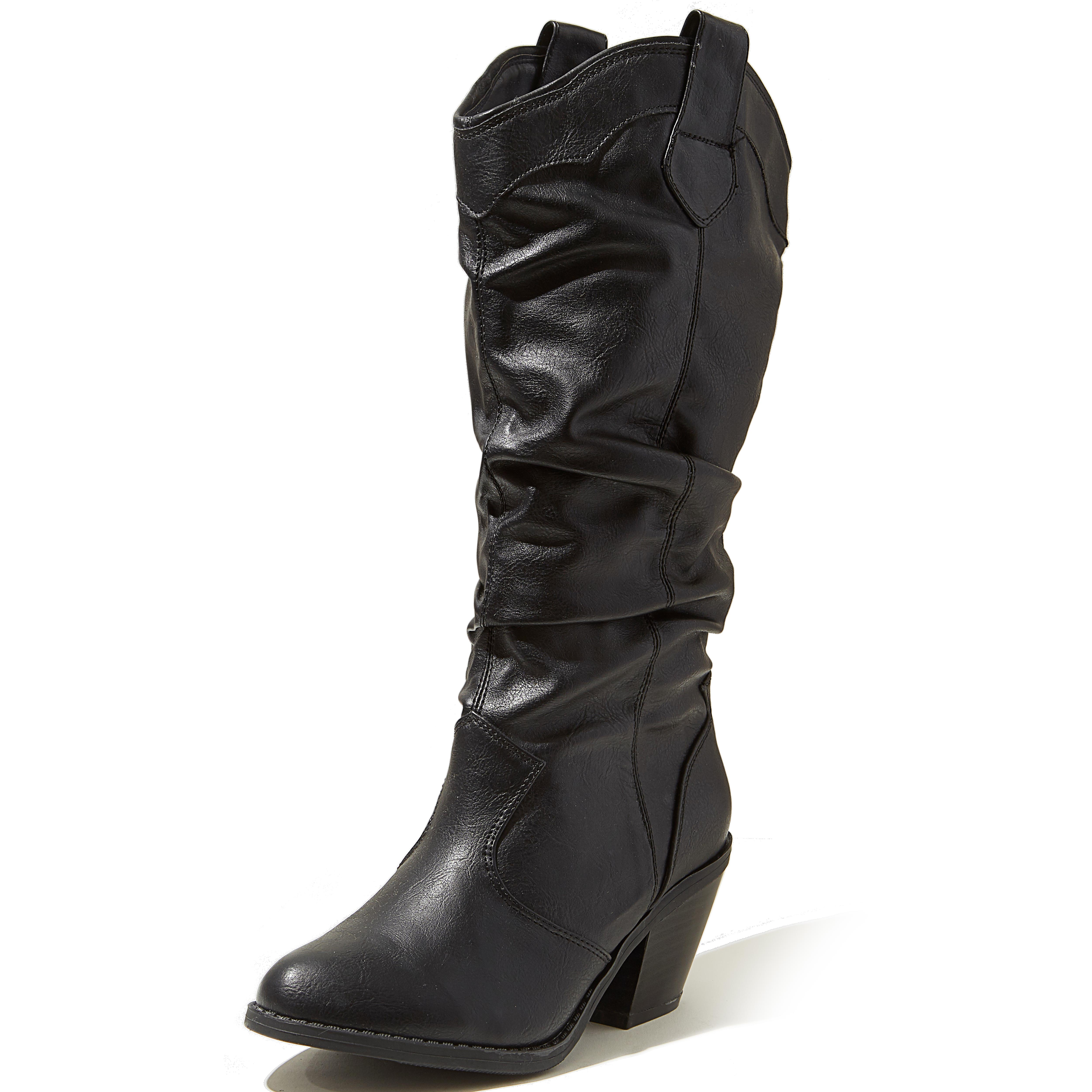 western cowboy inspired slouch mid calf knee high stacked