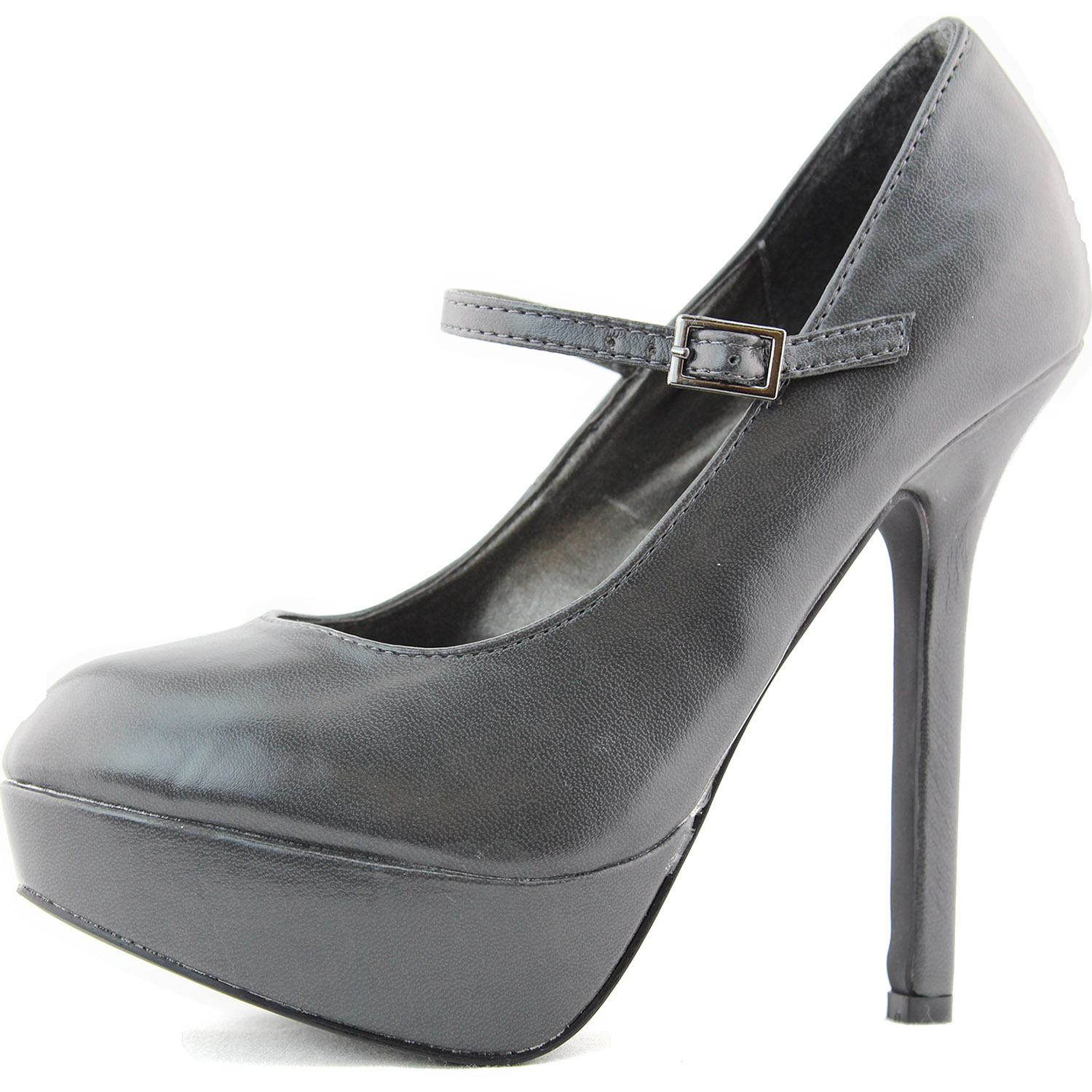Grey High Heel Platform Pumps Mary Jane Instep Ankle Strap Fashion