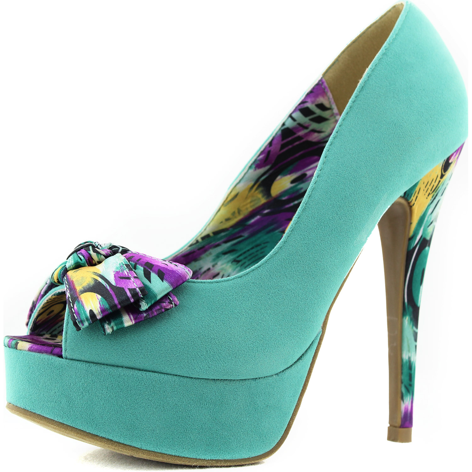 Teal Green Peep Toe Pumps Floral Ribbon Bow Tie Sexy High
