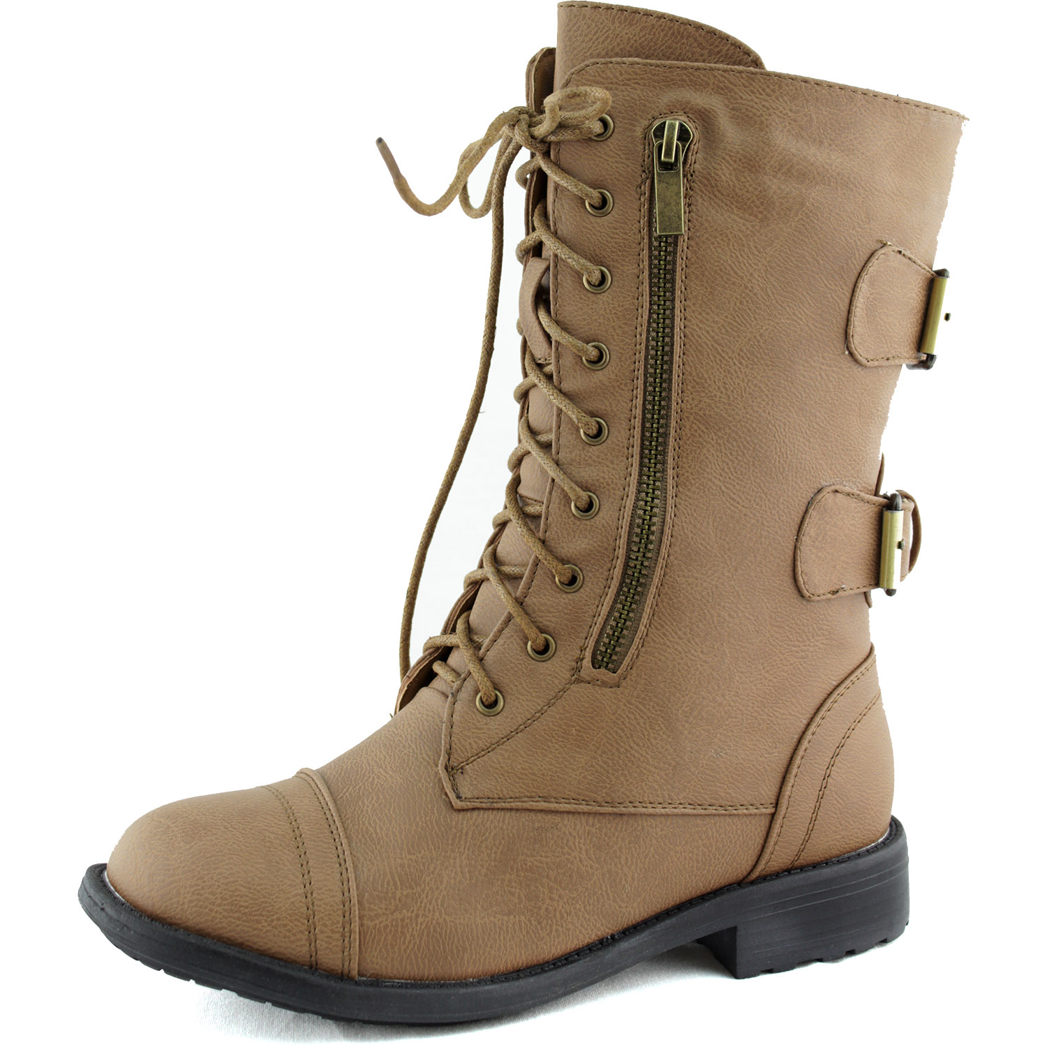 Top Moda Women's Military Up Buckle Combat Boots Mid Knee High Color at Sears.com