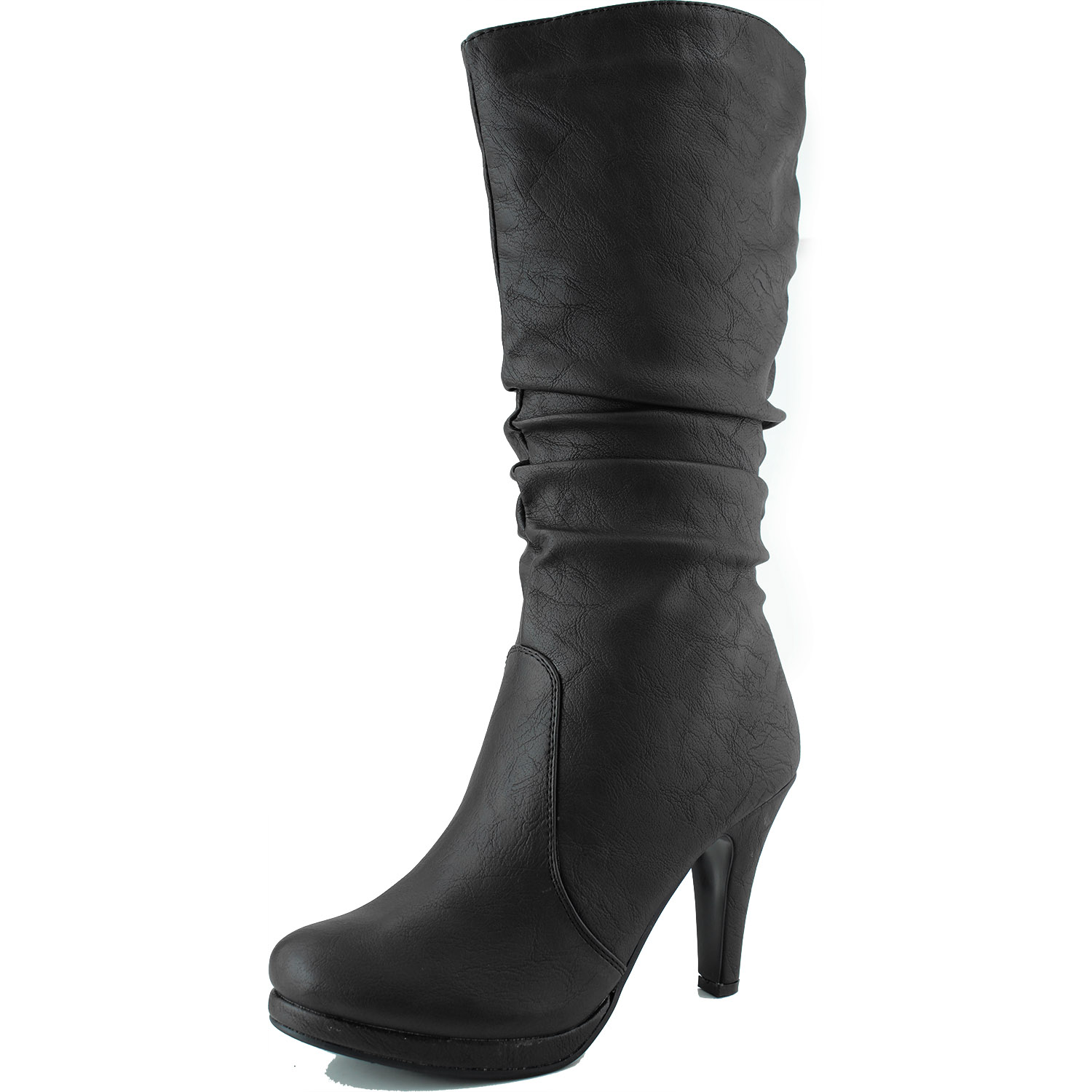 Top Moda Women's Mid Knee Slouched Boots Platform High Heel Round Toe Shoes at Sears.com