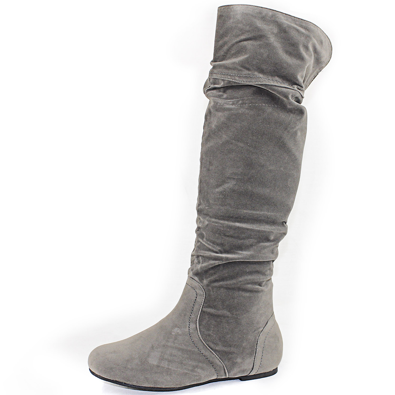 grey faux suede slouchy flat boots slouch knee high folod