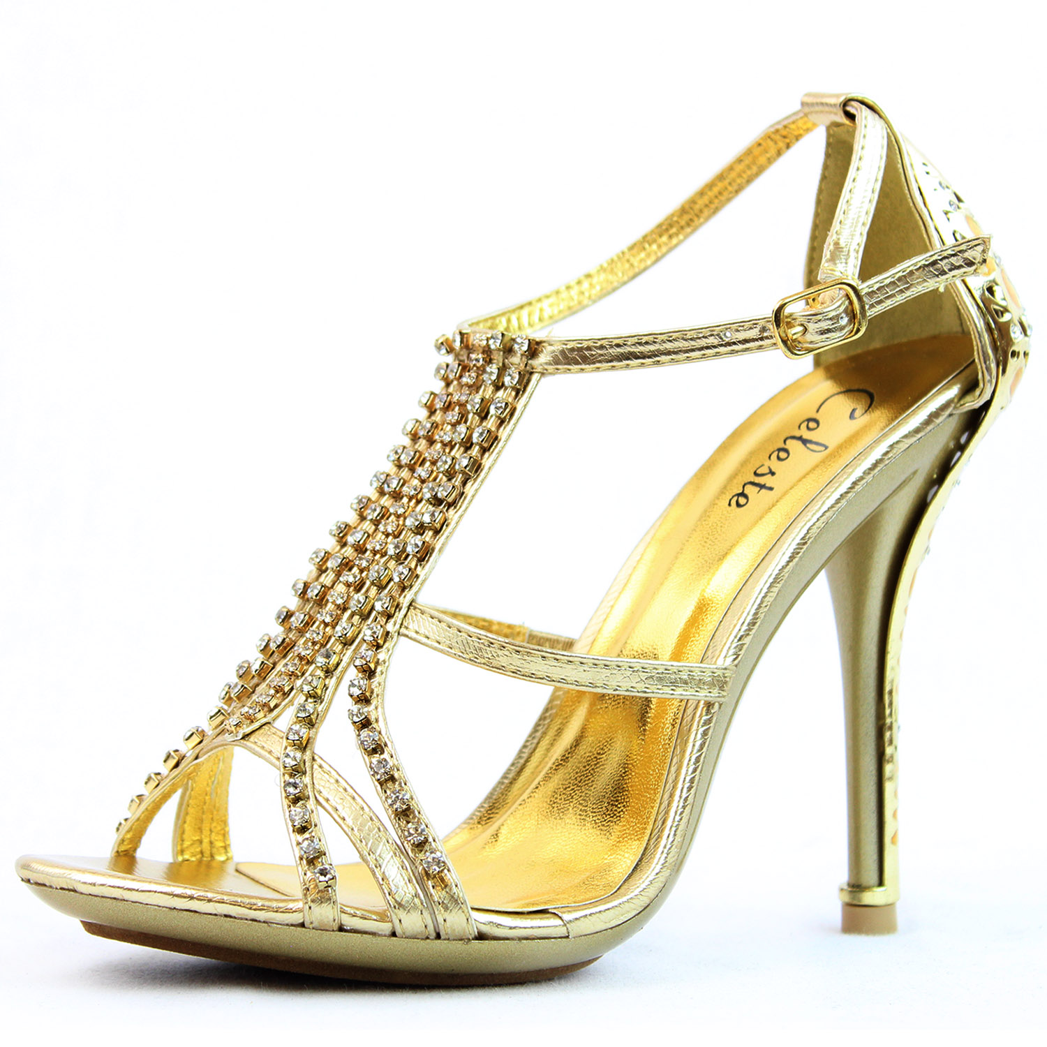 33 - Gold Strappy High Heels