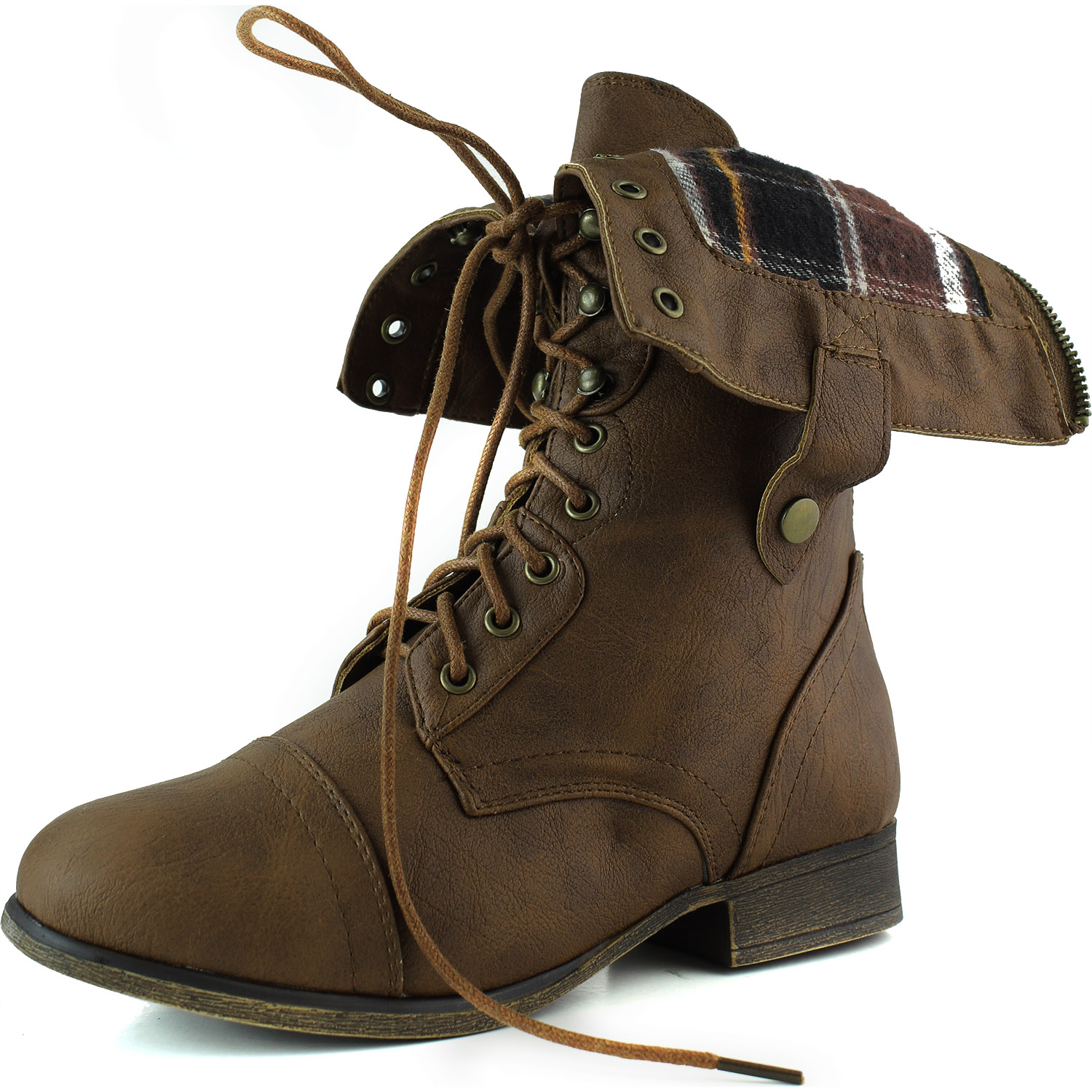 Top Moda Women's Military Up Foldable Ankle Mid Knee Combat Boots Tan at Sears.com