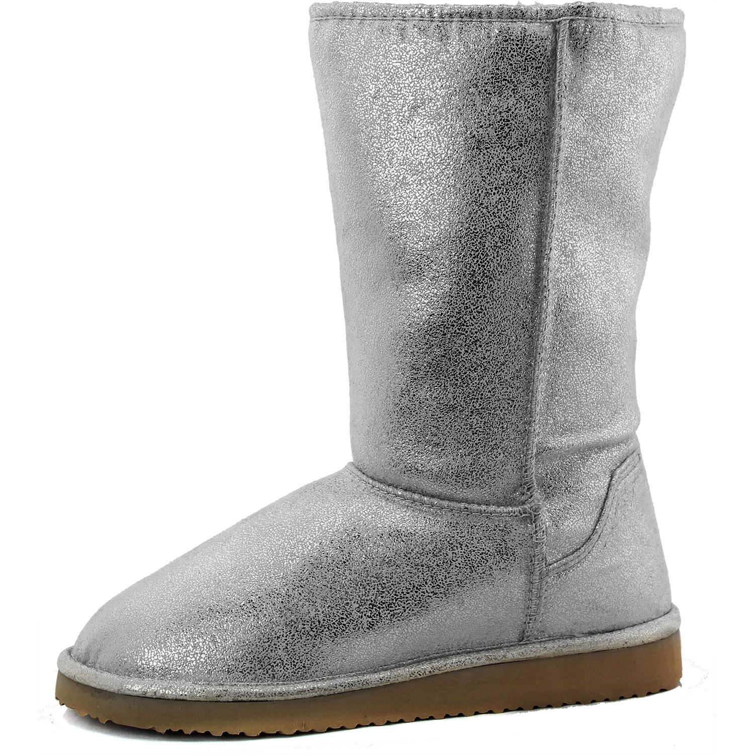 Metallic Silver Shinny Low Mid Calf Boots Light Weight