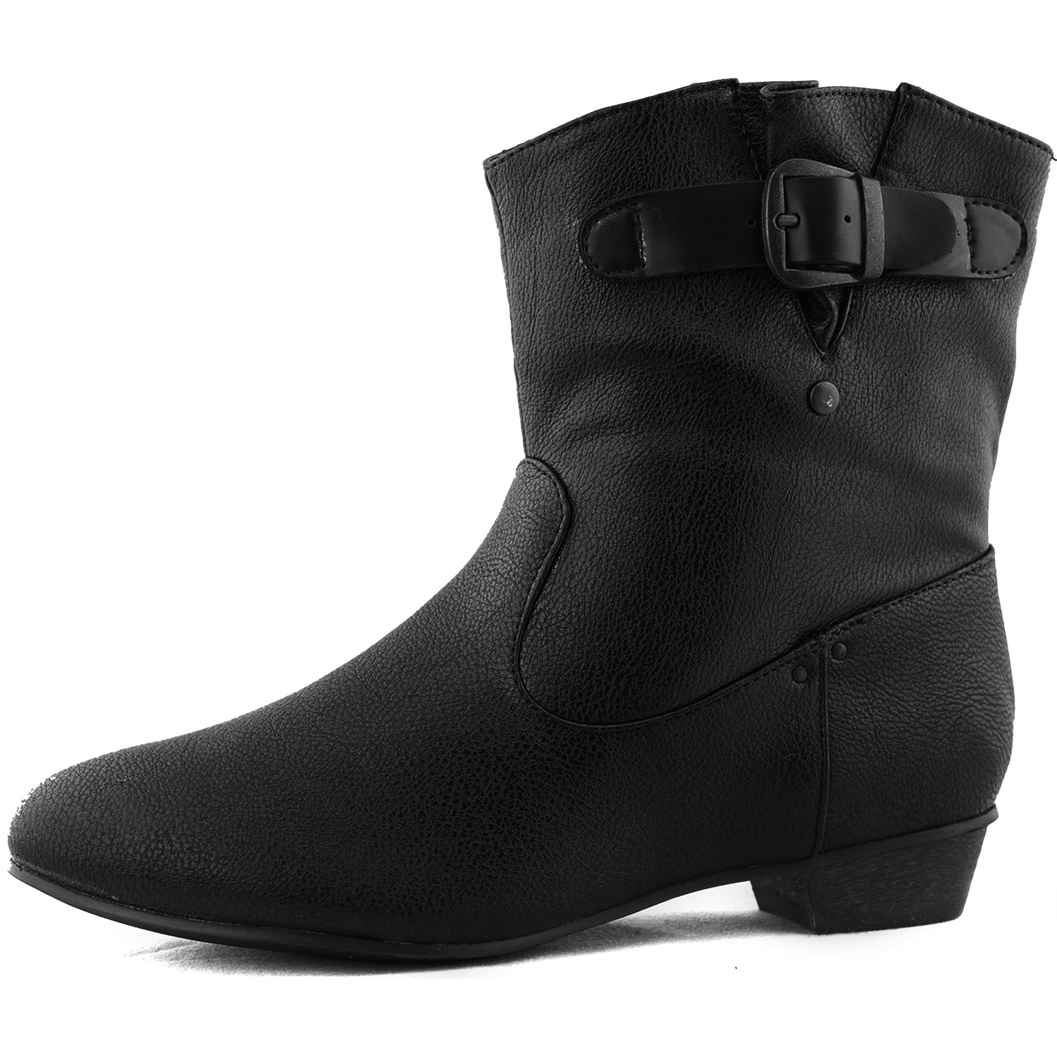 Black ankle high booties walkable round toe thick kitten heel cowboy