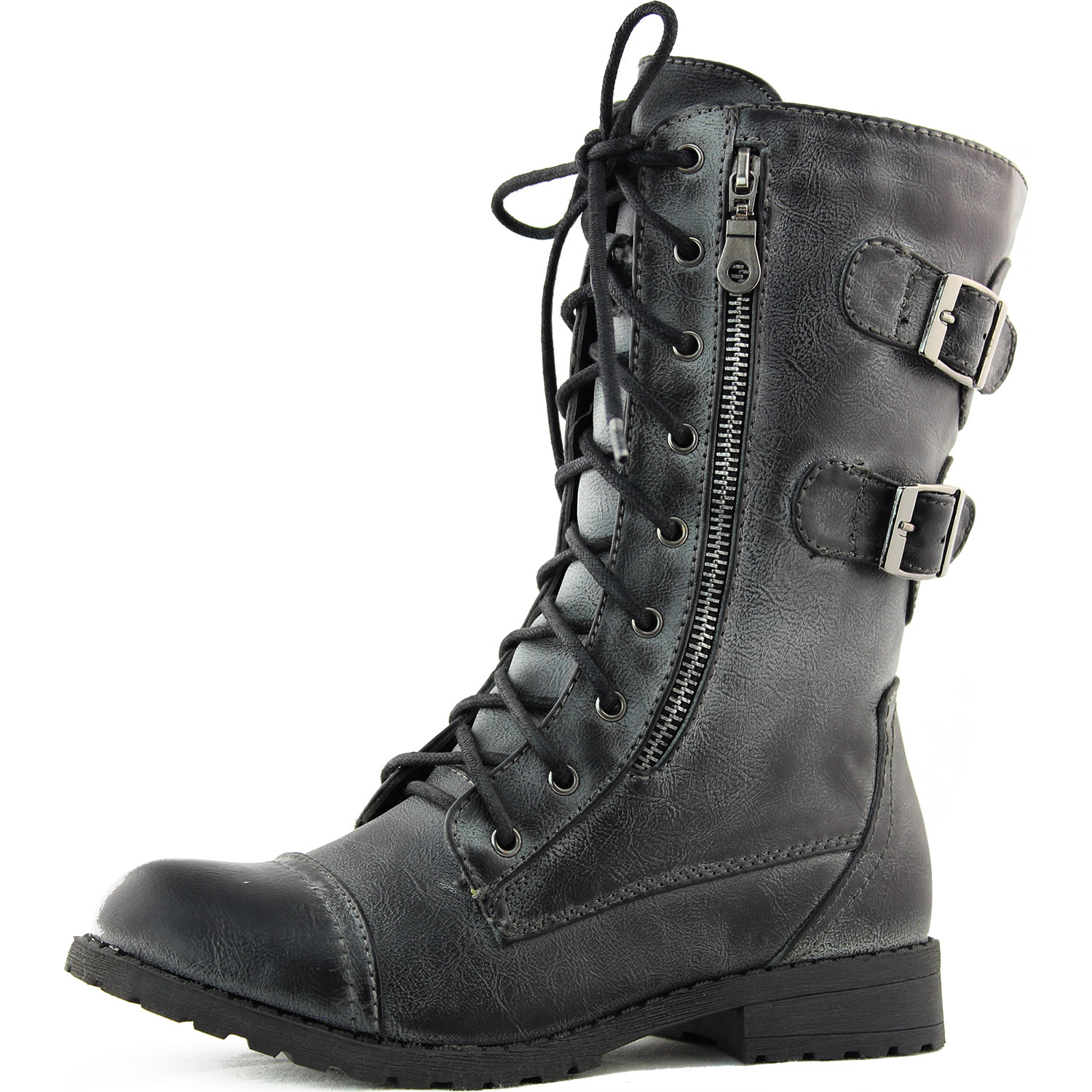 Side Zip Faux Leather Combat Boots Lace Up Buckle Military Fashion