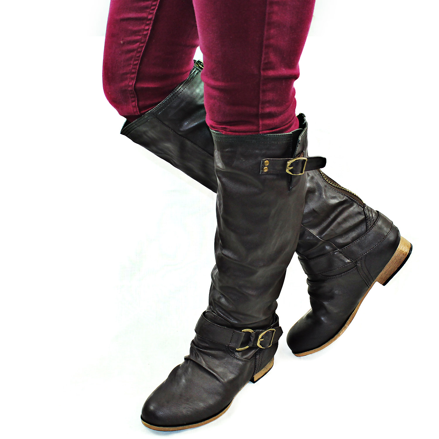 Brown Women Casual Motorcycle Riding Fashion Boots Back Zipper Buckle Shoes Ebay
