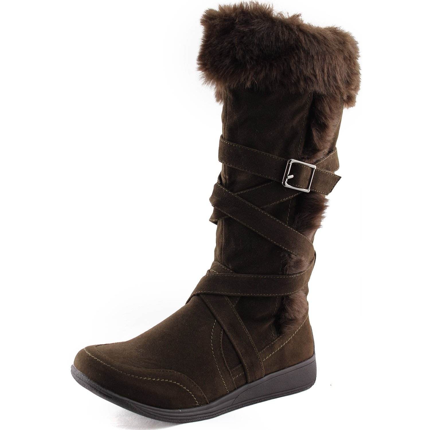 s fur mid calf wedge boots knee high buckle