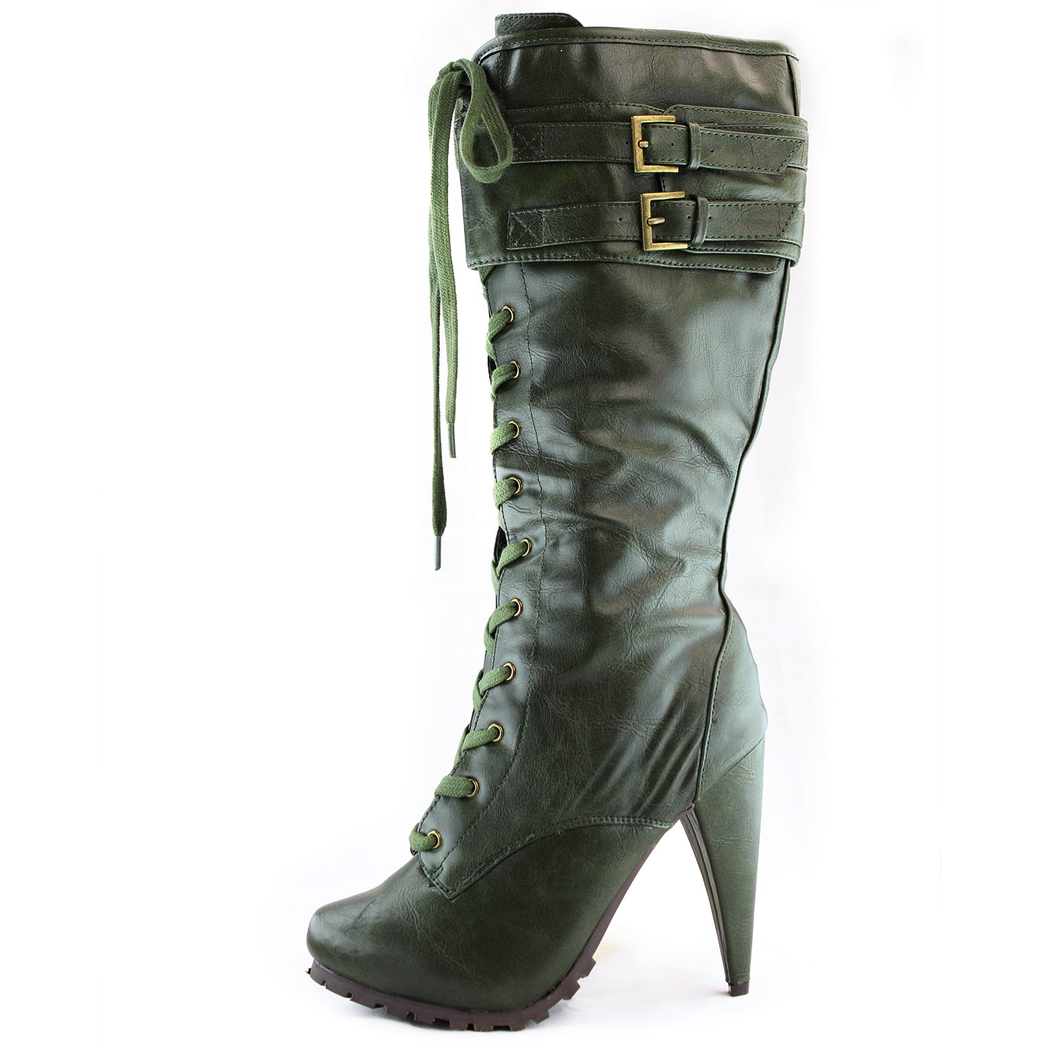 army green high heel boots lace up zipper mid calf